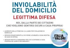 INVIOLABILITA' DEL DOMICILIO - LEGITTIMA DIFESA - RACCOLTA FIRME REFERENDUM