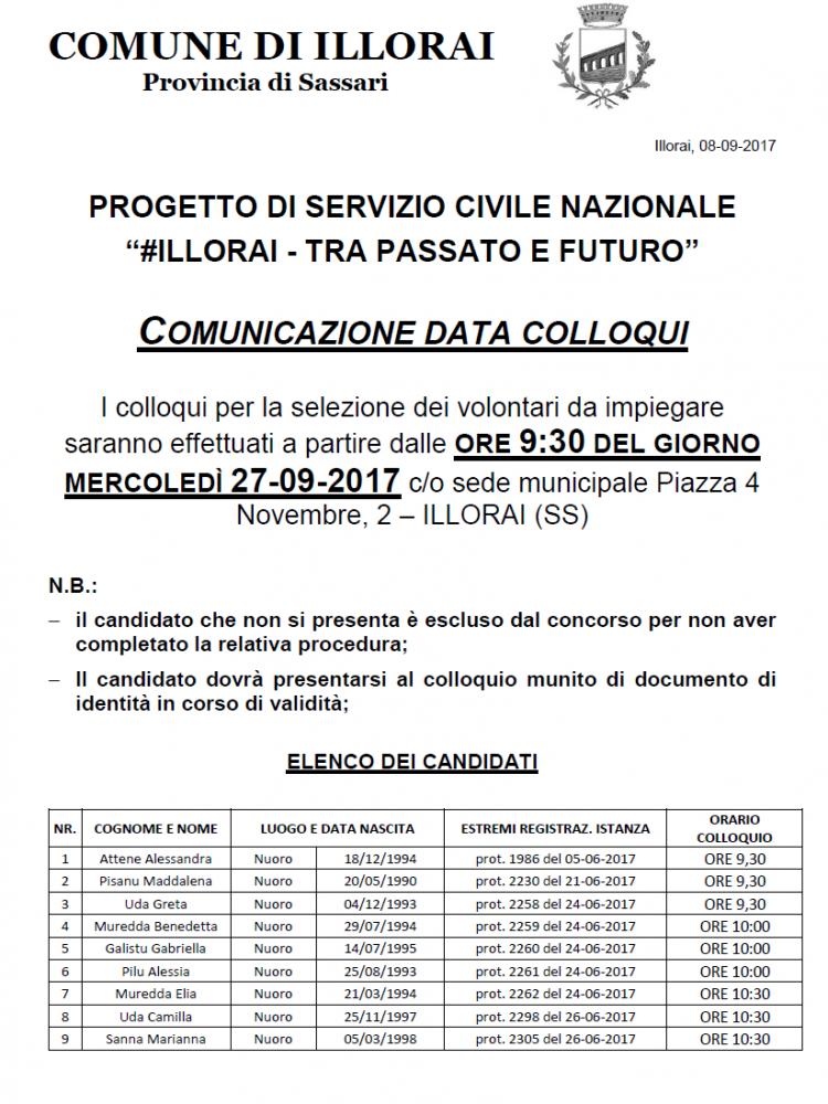AVVISO COLLOQUIO SELEZIONE